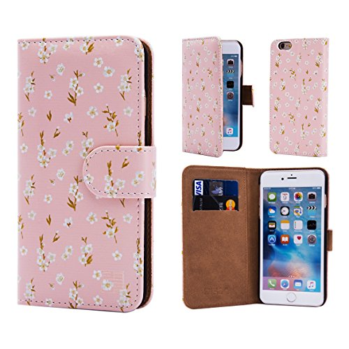 32nd Portafoglio Floreale Custodia PU Pelle per Apple iPhone 6 6S, Flip Case con Disegni di Fiori e Chiusura Magnetica - Fiore di Ciliegio Floral Portafoglio - Fiore di Pesco