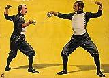 Vintage Swordfighting & Fencing due cifre, Spagna C1903250gsm lucido arte della riproduzione A3poster