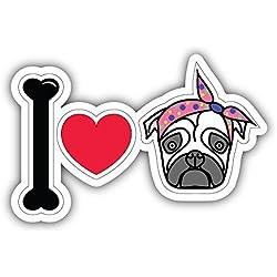 Pegatina de Vinilo I Love Pug Female Para la Decoracion del Vehiculo 12 X 8 cm