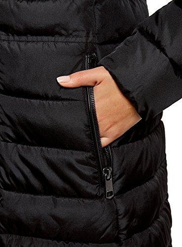 oodji Ultra Damen Gefütterter Mantel mit Kombiniertem Steppnaht Schwarz (2900N)