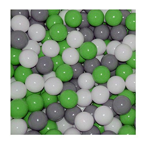 100 Bälle Ø 7cm Bälle für Bällebad viele bunte Farben Baby Kind Spielbälle Kugelbad Plastikbälle Blau Türkis Grau Pink Rosa Schwarz Weiss (Grün, Grau und Weiss) 3 Bällebad Bälle