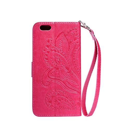 "Etsue Leder Brieftasche Hülle für iPhone 6 Plus/6S Plus 5.5"" Lanyard Ledertasche Handyhülle [Embossing Mandala Floral Blumen Muster], Retro Flip Case Wallet Cover Bookstyle Handytasche Handy Schutz Hü Mandala Floral,Hot Pink"