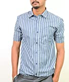Ring Bell Men's Formal Shirt (ST003_Blue...