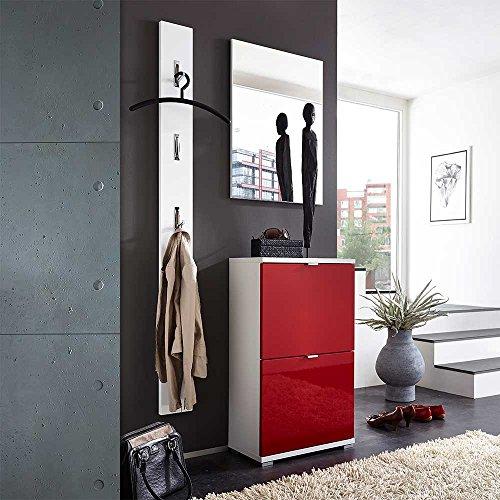 Pharao24 Garderobenkombination in Rot Weiß Hochglanz modern