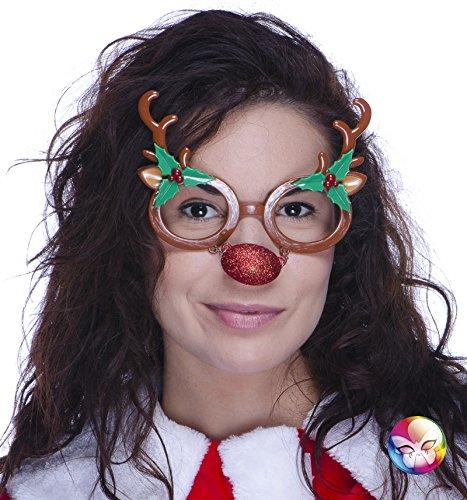 –ac1141–Brille Rennes ohne Glas, PVC (Kostüm Renne Noel)