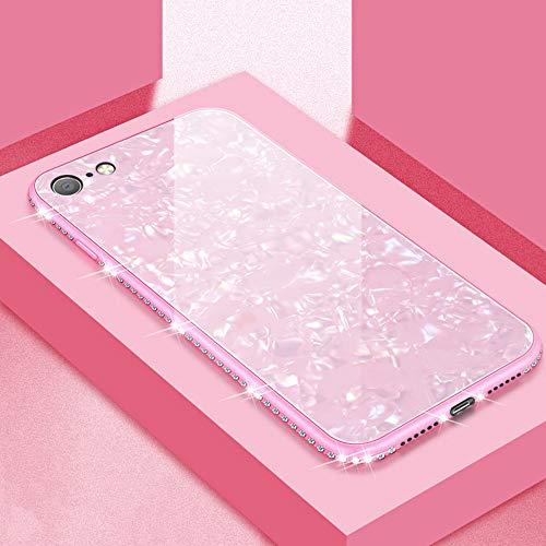 UEEBAI Hülle für iPhone X XS, Muschel Design Handyhülle Ultra Slim mit Eingelegt Glitzer Diamant Strass Gehärtetes Glas Zurück Abdeckung Flexible TPU Bumper Case Anti Kratzer Frauen - Rosa