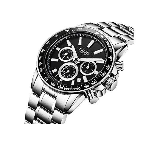 Herren Uhren, Edelstahl silber Business Luxus Classic Armbanduhr Multifunktional Zifferblatt Wasserdicht mit Datum Kalender Kleid Uhr für Herren