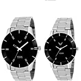 Fogg Analogue Black Dial Men'S And Women'S Watch 5020-Bk Couple Watch