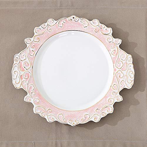 Teller Keramikplatte kreative Xiangyun Platte westlichen Salat italienische kalte Nudeln nach Hause handbemalte Goldplatte rote flache Platte 13 Zoll