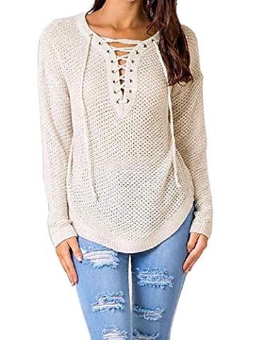 LemonGirl Damen Long Sleeves aushöhlen Solid Knit Top Pullover Pullover