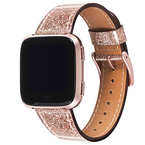 WFEAGL für Fitbit Versa Armband, Top Grain Lederband Ersatzband mit Edelstahl-Verschluss für Fitbit Versa/Fitbit Versa 2 /Versa Lite Fitness(Glitzernd Rosa Sand+ Roségold Schnalle)