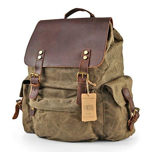 h-andybag gewachstem Canvas Rucksack Tasche Rucksack Herren 39,6cm Laptop Grün Dschungelgrün (Gewachstem Rucksack Canvas Herren)