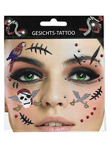 Gesichtstattoo ~ Pirat ~ Tattoo Piratenbraut Karneval Junggesellenabschied