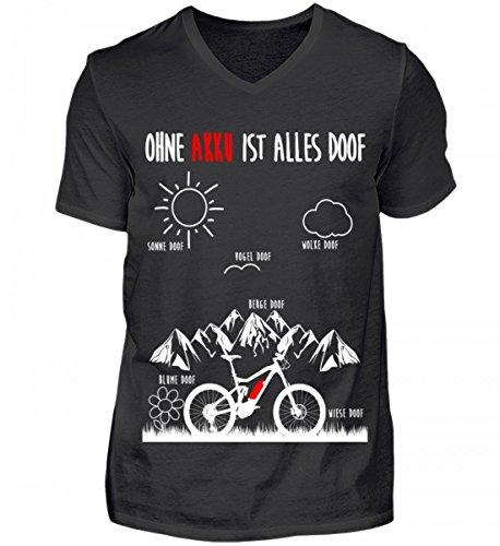 Hochwertiges Herren V-Neck Shirt - OHNE AKKU IST ALLES DOOF - Ebike und EMTB Shirt