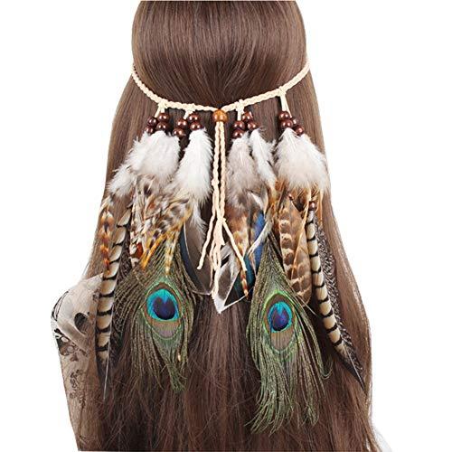 JUZIWEI Indische böhmischen ethnischen Wind Hippie Quaste Haar Seil Pfauenfeder Kopfschmuck weibliche Meer Haarband Bair Zubehör