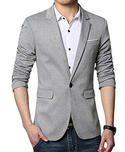 Herren Premium Lässig Slim Fit Ein Knopf Blazer Anzugjacke Sakko (S, Grau)