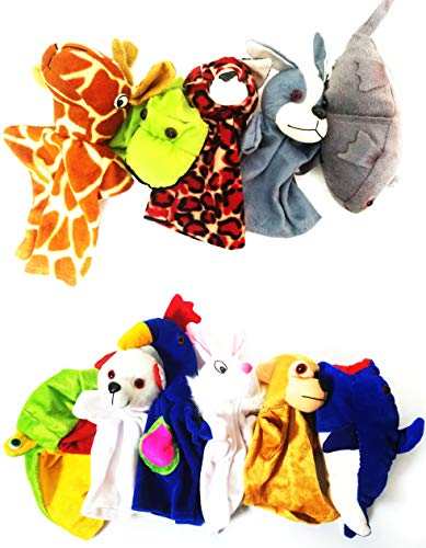 Hand Puppets Animal Birds Shape Random 10 Different Pcs. Rabbit, Elephant, Giraffe, Parrot, Rat, Tiger, Swan, Peacock, Crow, Horse, Lion, Dog Puppets for Kids