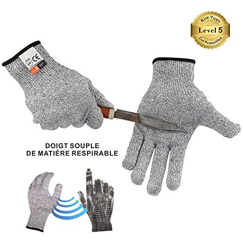 Kim Yuan Schnittfeste Sicherheit Handschuhe - high Performance Lebensmittelqualität Level 5 Schutz, für Oyster Shucking, Fisch Filet Verarbeitung, Mandoline zum Schneiden, Fleisch und Holz, Grau L