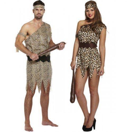Uomo & Donna Uomo delle caverne E Donna delle caverne Preistorico In abbinato Coppia Costume Costumi,outfit