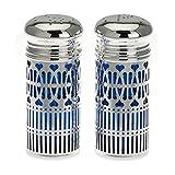 Salzstreuer und Pfefferstreuer mit hygenischen Blaufarbigen Einsatz H 9 cm Silber Plated versilbert
