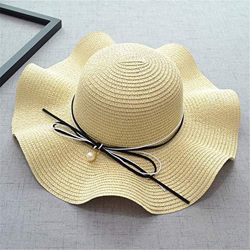 Bögen Perlen Mode Wellenförmige Seite Damen Große Kante Strandhüte Urlaub Ferien Sonnenschutz Sonnenschutz Literary Folding Outdoor Visier,beige