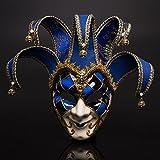 Fronte sorridente della maschera del teatro di carnevale di Venezia Rosso e blu a due colori (blu)