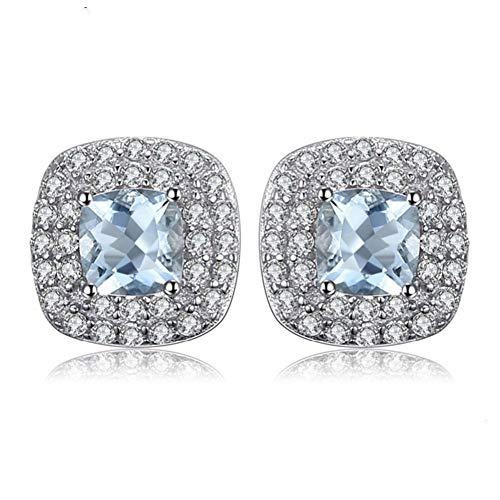 CBLXN Ohrringe 0.9ct Natürliche Aquamarin Halo Ohrringe 925 Sterling Silber Ohrringe Frauen Edlen Schmuck - Halo Und Ring Diamant Aquamarin