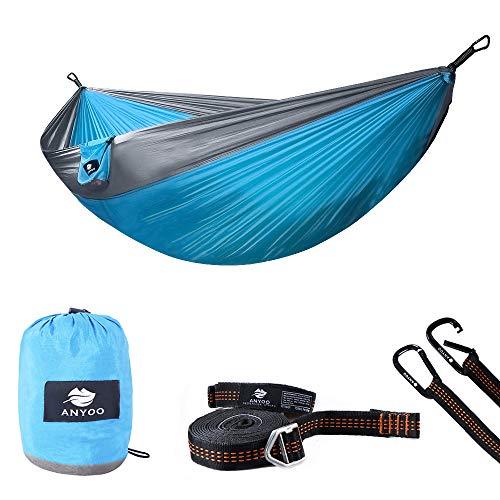 Anyoo Camping Hamaca Doble Ligero Paracaídas portátil Nylon Hamaca con Correas de árboles para mochileros Senderismo Viajes Jardín