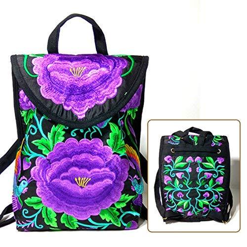 MARCU Home Mädchen BISSER Yunnan National Wind Bag Gestickte Umhängetasche Student Travel Bag Canvas Bag Handtasche klein, große lila Blume - Canvas Gestickte Handtasche