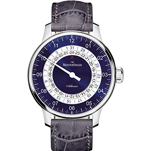 Meistersinger Men's Adhaesio 43mm Alligator Leather Band Automatic Watch AD908