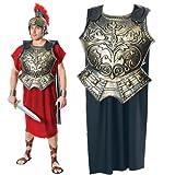 Mens Caesar Toga Roman Emperor Gladiator Chest Armour & Cape Fancy Dress Costume