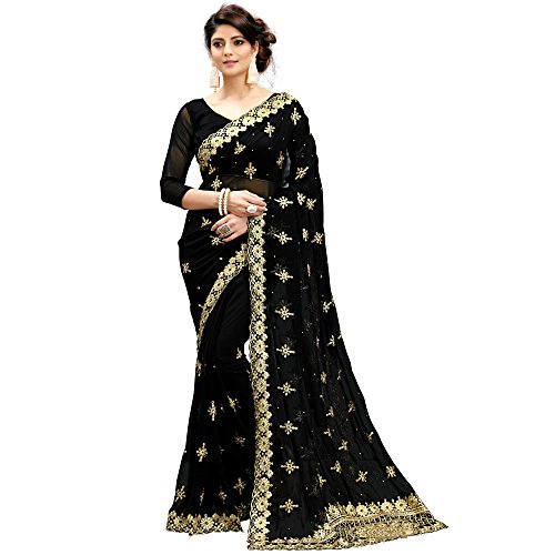 Siddeshwary Fab Faux Georgette Saree With Blouse Piece (C-02 Flower Black Colour_Black_Free...