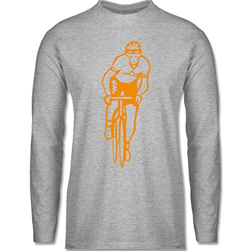 Shirtracer Radsport - Radsport - Herren Langarmshirt Grau Meliert