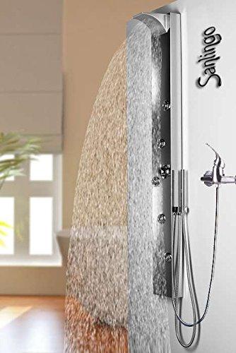 Edelstahl Duschpaneel von Sanlingo. Duschsäule mit Spiegel, Wasserfall und Regendusche für Armatur