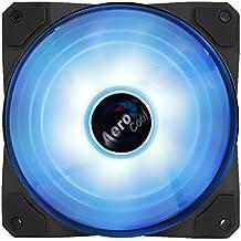 Aerocool P7F12 - Ventilador gaming para PC (12 cm, aspas desmontables, 16.8 millones colores LED, ultra silencioso, anti vibración, 12 V / 9 V, 60000 horas), Negro