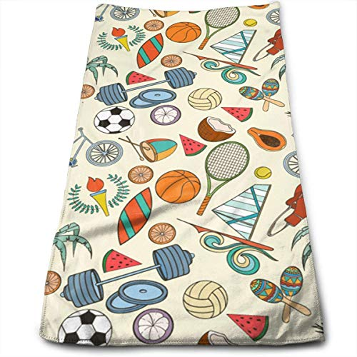Soccers and Tennis Racket Soft Cotton Large Hand Towel- Multipurpose Bathroom Towels for Hand, Face, Gym and Spa -