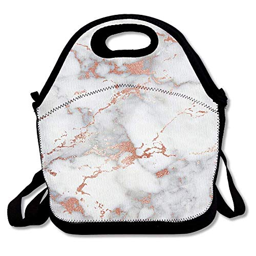 ziHeadwear Rose Gold Marble Waterproof Neoprene Lunch Tote Bag/Box Neoprene Tote for Travel and Picnic School - Tiffin Rose