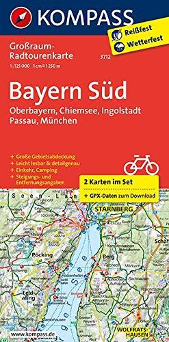 Bayern Süd, Oberbayern, Chiemsee, Ingolstadt, Passau, München: Großraum-Radtourenkarte 1:125000, GPX-Daten zum Download: 2-delige fietskaart 1:125 000 (KOMPASS-Großraum-Radtourenkarte, Band 3712)
