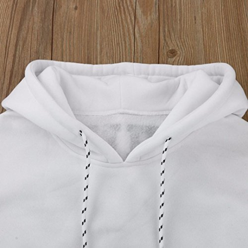 ESAILQ Blouse à Manches Longues Lettre overs Print Sweatshirt Femmes Appliqué à Capuche Sweat-shirt Tops Chemisier Blanc