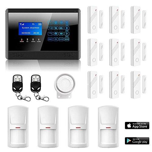 Eray M2BX Sistema de Alarma LCD Pantalla de Menú en Castellano GSM/ SMS Llamadas 6 Teléfonos Diferentes Antirrobo Sistema de Seguridad para el Hogar, Pila Incluida