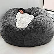 Yorten Home Sponge Bed Bean Bag Chair Cover Slipcover Double Bedroom Balcony Large Couch Round Soft Fluffy Cov