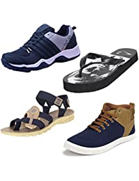 Bersache Men Combo Pack Of 4 Sports Shoes With Slipper,Sandal And Casual Sneaker