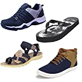 #8: Bersache Men Combo Pack of 4 Sports Shoes with Slipper,Sandal and Casual Sneaker
