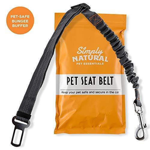 Haustier Sicherheitsgurt by Simply Natural - Bungee Puffer 70-80cm Hunde Sicherheitsgurt für Auto mit kompatiblem Haustier Sicherheitsgurt Clip -