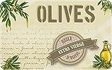 ID Mat Huile D'Olives Decor de Cuisine, Fibres Synthétiques, Beige Vert, 50x80x0,4 cm