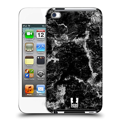 Head Case Designs Schwarz Marmor Drucke Harte Rueckseiten Huelle kompatibel mit Apple iPod Touch 4G 4th Gen (Ipod 8gb 4. Gen)