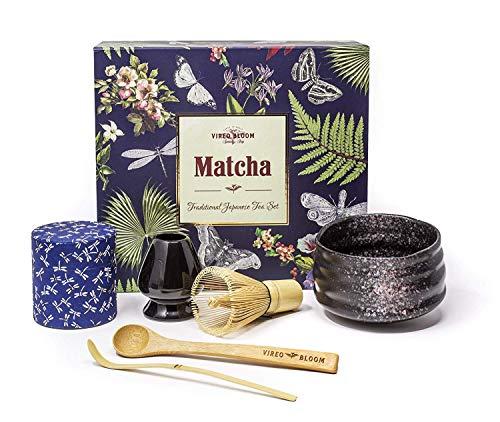 """Grüner Tee Matcha Pulver Set - 50g Vireo Bloom Zeremoniellen Kit mit Bambus Anwendungsbereich, Löffel, Schneebesen mit Halter, Matcha Servierschüssel Chawan (""""Erdbeergeschmack"""" Set 2 Schüssel)"""