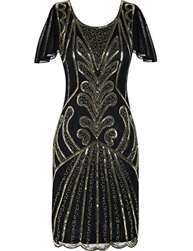Kayamiya 1920er Jahre Flapper Kleider mit Ärmeln Pailletten Art Deco Cocktail Gatsby Kleid 46-48 Gold (Ärmel Perlen Kurze)