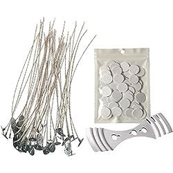 Homankit 100 Stück 15 cm Soja-Wachs Kerzendocht mit Aufkleber für Kerzenherstellung