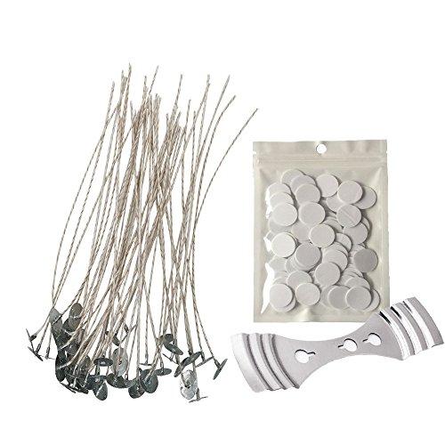 Homankit Kit para hacer velas | 100 piezas x 15 cm Pre encerado mechas con sujeciones de soja con mecha de pestañas, 100 puntos doble cara pegatinas y mecha de 1 pieza inoxidable fijo soporte | vela/vela para hacer velas mechas para DIY